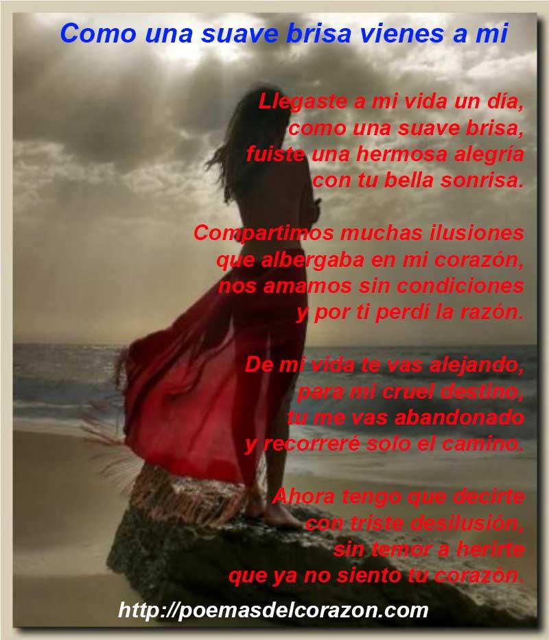 Imagen poema Como suave y fresca brisa vienes a mi
