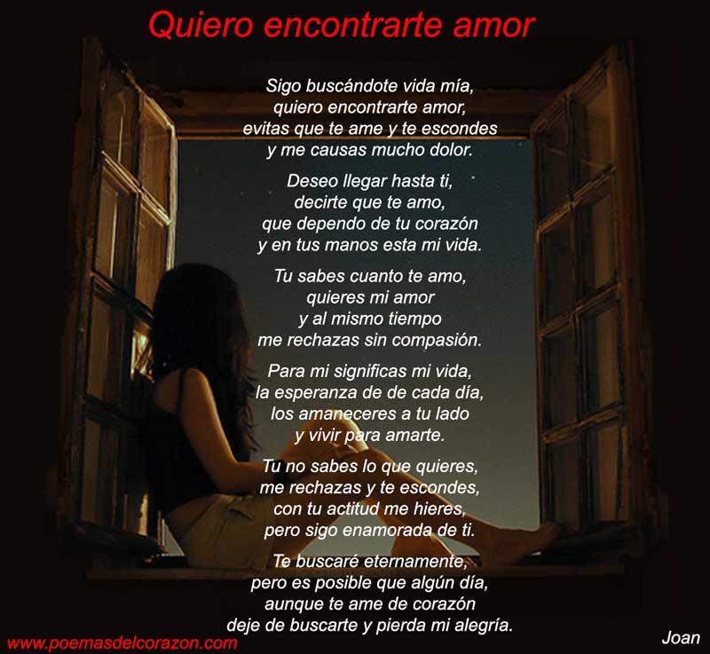 Imagen del poema Quiero encontrarte amor