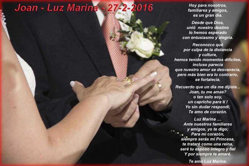 Matrimonio Joan Luz Marina