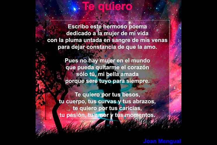 Te Quiero Poema Joan Mengual