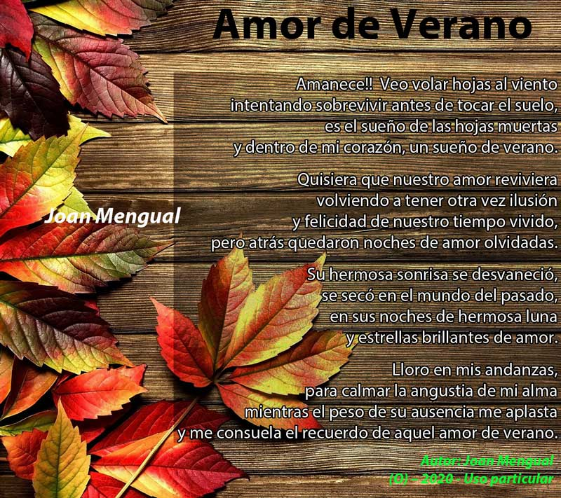 Amor de Verano - Poema de Joan Mengual